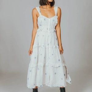 Free People Daisy Chain Floral White Midi Dress
